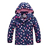 Girls Rain Jacket - Waterproof Jacket for Girls with Hood,Best for Rain School Day,Hiking and Camping (1301, 7)
