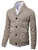 H2H Mens Knitted Fashion Long Sleeve Shawl Collar Button Front Cardigan Ivory US M/Asia L (CMOCAL031)