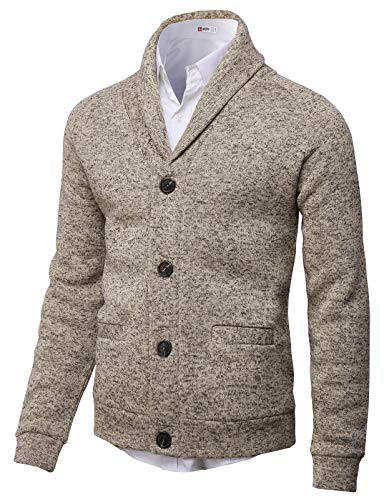 H2H Mens Knitted Fashion Long Sleeve Shawl Collar Button Front Cardigan Ivory US 3XL/Asia 4XL (CMOCAL031)