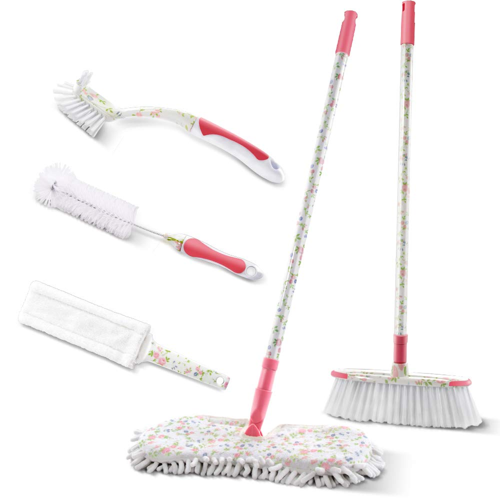 Masthome Household Printed Double-side Mop,Microfiber Heating Duster, Broom 6 PCS Cleaning Set For Household Cleaning