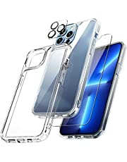 TAURI [3 in 1] Defender Designed for iPhone 13 Pro Max Case 6.7 Inch, with 2 Pack Tempered Glass Screen Protector + 2 Pack Camera Lens Protector [Military Grade Protection] Shockproof Slim Thin