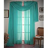 """Empire Home Unlimited Solid Wide Window Sheer Scarf - 54"""" Wide X 216"""" Long (Rare Teal)"""