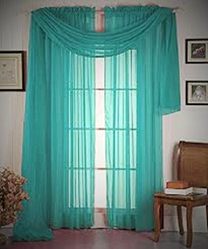 1 ELEGANCE SHEER VALANCE SCARF TOPPER SWAG WINDOW TREATMENT COVERING ALL STYLES - Teal Green (Elegance Swag)