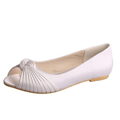 Wedopus MW989 Women s Pleating Peep Toe Ballet Flats Satin Pumps Shoes for Bride  Size 6 White a48232d1e149