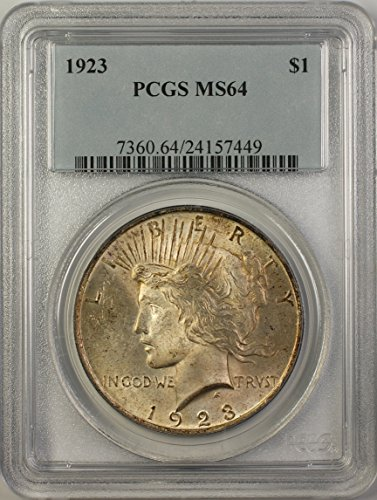 1923 Peace Silver Dollar Coin (ABR15-C) Toned $1 MS-64 PCGS