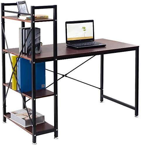K&A Company Writing Computer Desk Table Student Storage Shelves Kids Room New Furniture Dorm Laptop Wood Corner Drawer Office Shelf Work Unit 4 Tier Storage Shelves Black by K&A Company