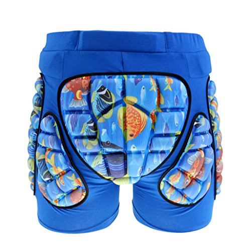 MonkeyJack Kids Children Hip Pad Protector Guard Ski Roller Skating Snow Board Cycling Padded Shorts - Blue, XXS