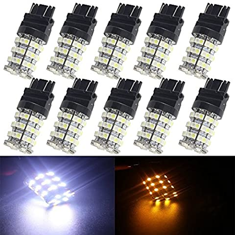 EverBright 10-Pack 3157 3047 3057 3057A 3155 3157 3157A White / Amber Switchback 3582 60-SMD Chipsets LED Bulbs For Turn Signal Lights Brake Lamp Bulbs DC 12V