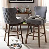 Best Wholesale Interiors Studio Designs Wood Designs High chairs - Brown Wood Finishing, Fabric Swivel BarStools, Gray, Set Review