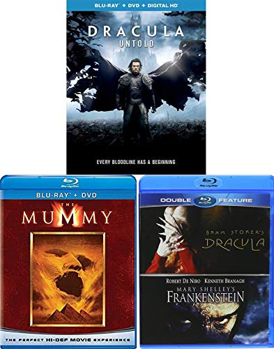 The origin story of Dracula Untold + Frankenstein + The Mummy & Dracula Blu Ray Amazing Fantasy 4 Monster Movie Feature Bram Stoker & Mary Shelly Classics -