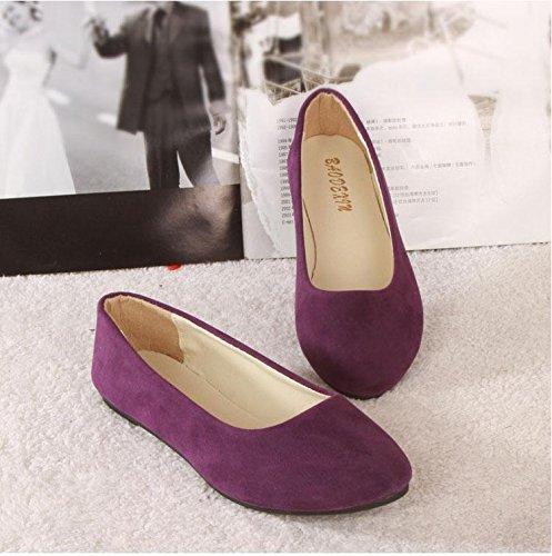 fashion Mocasines Walking Slip Ons Mujeres amp; Outdoor Comfort Piso zapatos plano Suede Oficina perezoso purple y LvYuan talón Casual Carrera SaqP7w