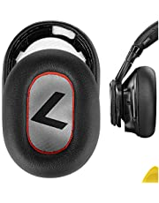 Geekria QuickFit Eiwit lederen vervangende oorkussens voor Plantronic BackBeat PRO 2, BackBeat PRO 2 Special Edition, Voyager 8200 UC, hoofdtelefoon oorkussens, reparatieonderdelen (zwart/rood)