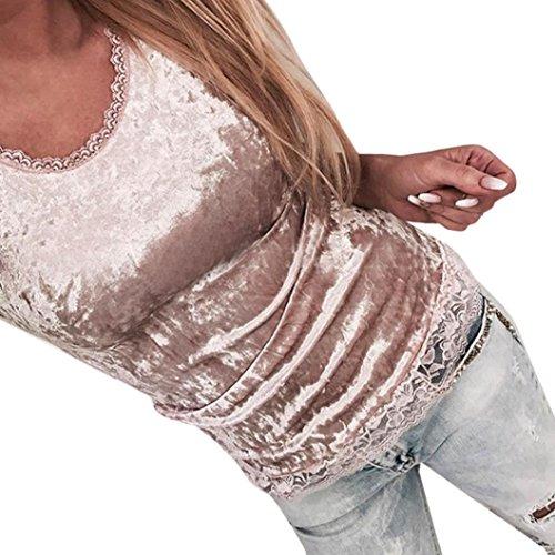 Yihaojia Women's Camisole Vest Patchwork Lace Sleeveless Velvet Pullover Vintage Blouse Tank Top (Vintage Vest Velvet)