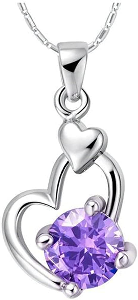 Onefeart White Gold Plated Pendant Necklace Women Purple Crystal Double Heart-Shaped 45CMx23X12MM
