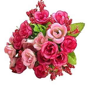 Goodtrade8 2 Bouquet 21Heads Artificial Rose Silk Flower, Rose Silk Fake Flower Leaf for Home Wedding Decor Bridal Bouquet 103