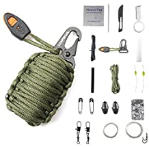 Campsnail 17 Accessories Emergency Survival Pod Kit wrapped in 550lb Survival Grenade Cord For Emergencies