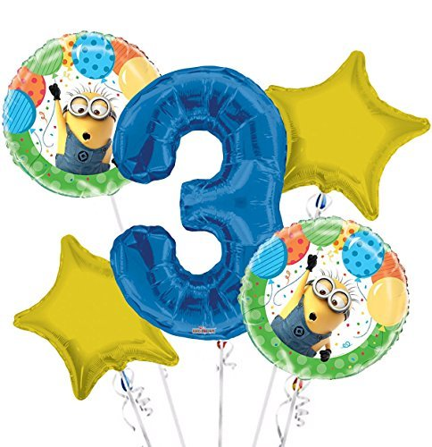 Minions Despicable Me Balloon Bouquet 3rd Birthday 5 pcs - Party Supplies -