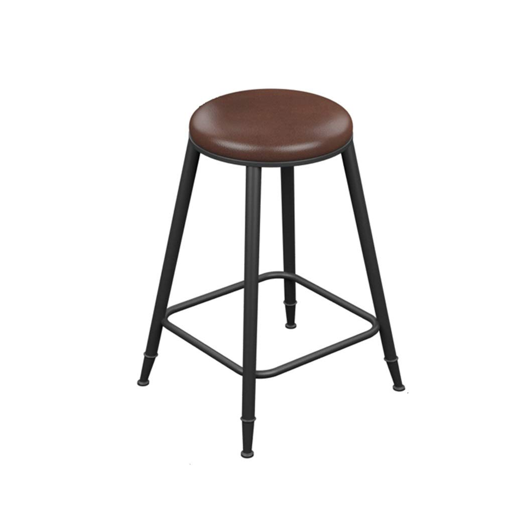 No backrest 60cm high Retro Iron Art Bar Stool High Leg Chairs Modern Simple Kitchen Household Seat Backrest Design Sturdy Non-Slip 0522A (color   with backrest, Size   68cm high)