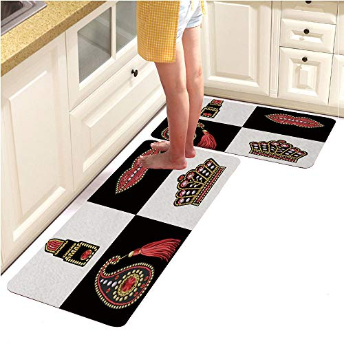 Kitchen Mat Rubber Backing Doormat Runner Rug Set,2 Piece Non-Slip,Design for t Shirt with Patches with Sequins and Beads Lips Paisley Lipstick Crown Stickers (18