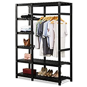 Tribesigns Free-standing Closet Organizer, Portable Clothes Closet with 6-tire Shelves and Clothes Rail, Heavy Duty Garment Rack for Bedroom, Pine Wood, Black