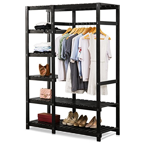 Tribesigns Free-standing Closet Organizer, Portable Clothes Closet with 6-tire Shelves and Clothes Rail, Heavy Duty Garment Rack for Bedroom, Pine Wood, Black (Solid Wood Closet Organizers)