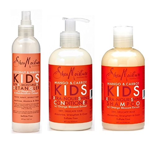 Shea Moisture Kids Hair Care Combination Pack – Includes Mango & Carrot 8oz KIDS Extra-Nourishing Shampoo, 8oz KIDS Extra-Nourishing Conditioner, and 8oz Coconut & Hibiscus KIDS Detangler (Normal Full Volume Shampoo)