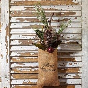 Vintage Hanging Burlap Bag - Merry Christmas (Small (4-in x 7-in))