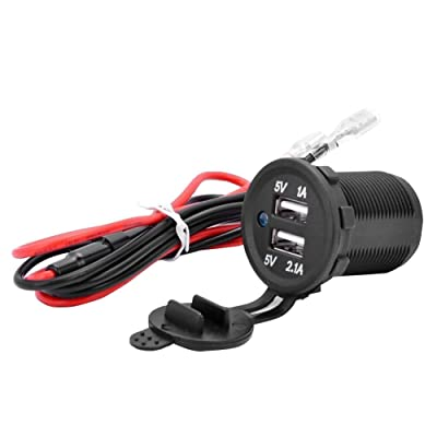 Qunqi Dual USB Charger Power Socket Outlet 12V 1A & 2.1A for GPS Charger Car Boat Marine Carvans Flush Mount (with Wire): Home Audio & Theater