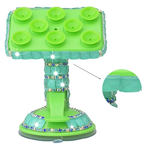 Spritech(TM) Bling Crystal Diamond Rhinestones Design Universal 360 Degree Rotating Suction Cup Car Mount Clip Stand Holder Mount for Smartphones Mobile Phones Tablet Digital Device GPS PDA Green