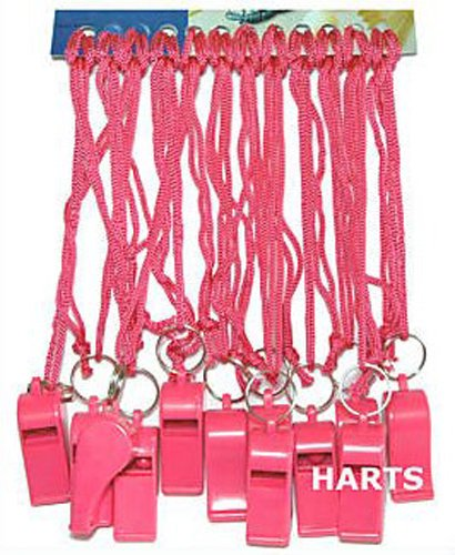 12 Units Pink Plastic Loud Sports Whistles on pink Cords HARTS