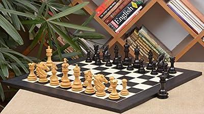 Chessbazaar Combo Of Dragon Series Chess Pieces In Ebony / Box Wood & Black Anigre Maple Matte Finish Board