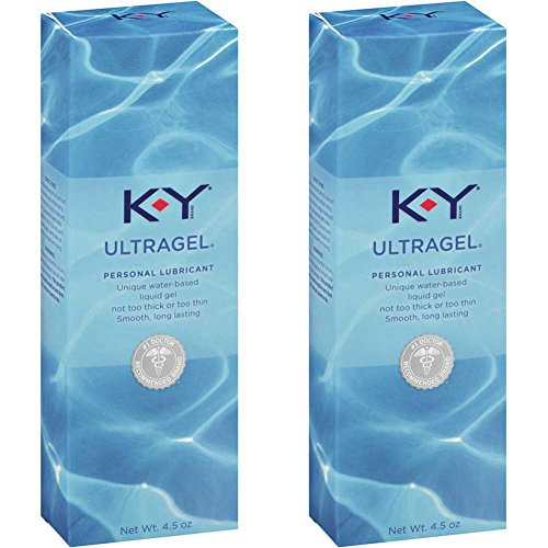Personal Lubricant, K-Y UltraGel Water Based Lube, 4.5 oz (Pack of 2) - Personal Moisturizing Lubricant