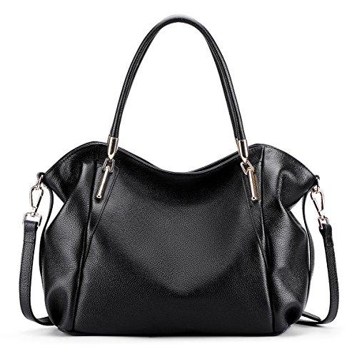 1320a7d061e9 BIG SALE-AINIMOER Womens Leather Vintage Shoulder Bag Ladies Handbags Large  Tote Top-handle Purse Cross Body Bags (Black) - Buy Online in UAE.