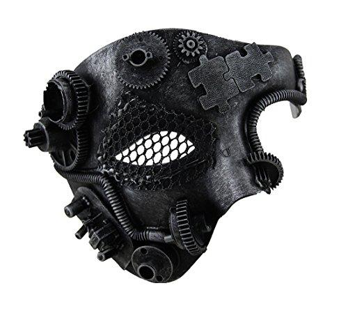 Metallic Steampunk Phantom Half Face Masquerade Mask (Victorian Face Masks)