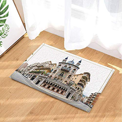 HEYQUAN Monaco Decor Signature Building of Monaco City Street Bath Rugs Non-Slip Doormat Floor Entryways Outdoor Indoor Front Door Mat Kids Bath Mat 15.7x23.6in Bathroom Accessories