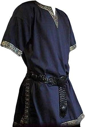 Fueri - Camisa de Manga Corta para Hombre, Estilo Vikingo, Corte en V, para Halloween A-Blau XL: Amazon.es: Ropa y accesorios