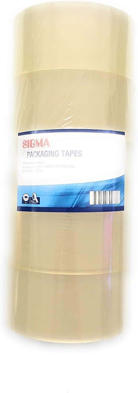 SIGMA Klebeband Tapes 5 Rollen transparent Paketklebeb/änder Multipack