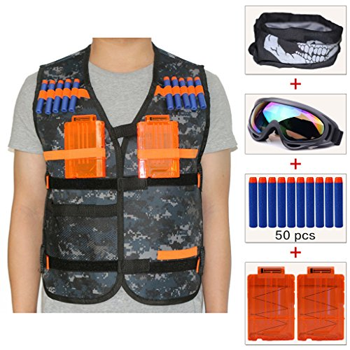 Airsoft Firepower Mask Tactical (COSORO Kids Camouflage Tactical Vest Jacket Kit (comes with Face Mask + Windproof Protective Goggles + 50pcs Blue Foam Darts + 2pcs 5-dart Quick Reload Clip) for Nerf N-strike Elite Toy Gun)