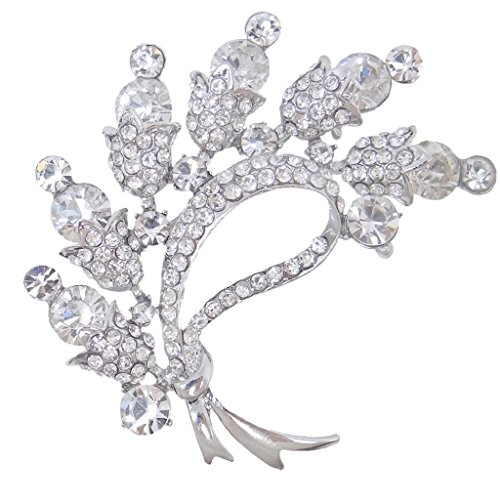 EVER FAITH® Ton d'Argent Cristal Autrichien Bouton Fleur Broche Transparent N03057-1