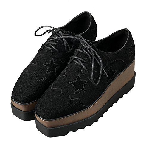 Btrada Fondo In Basso Piattaforma Donna Punta Quadrata Moda Sneaker Tacco Alto Casual Scarpe Da Passeggio Nere
