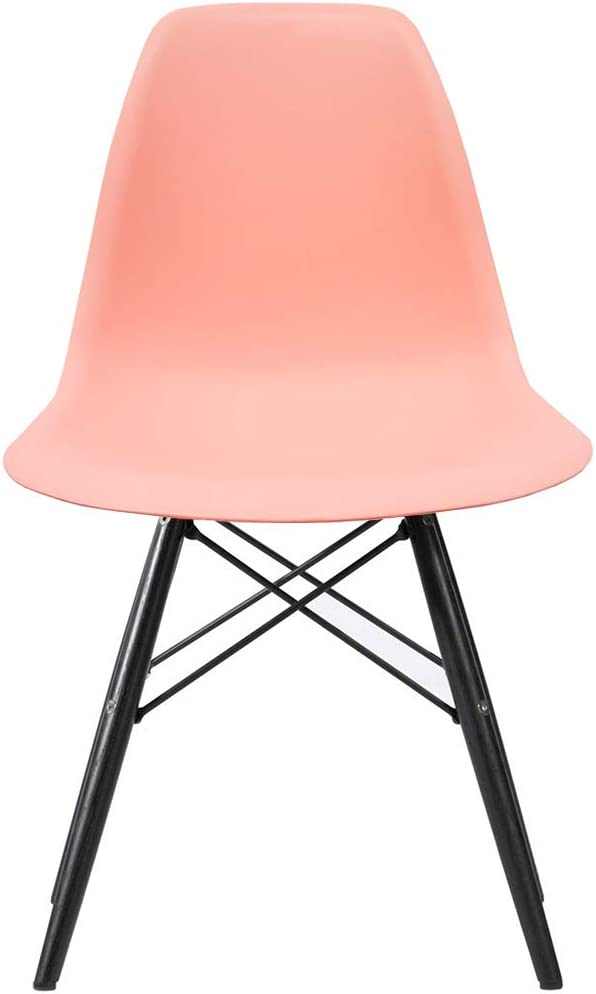 2xHome CH-RayBlkLeg dining Chair, Coral Pink,1 piece