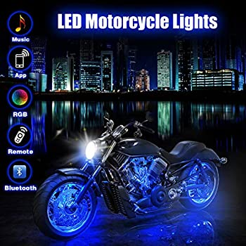 bliifuu 12pcs motorcycle led lights with bluetooth wireless remote  controllers, 18 rgb colors accent glow neon atmosphere lights bar for  harley davidson