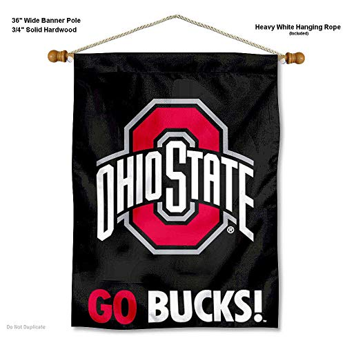 Ohio State Buckeyes Go Bucks Banner with Hanging Pole