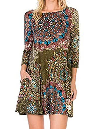 Famulily Women's Summer 3/4 Sleeve Damask Print Loose T-Shirt Midi Dress with Pocket Army Green S