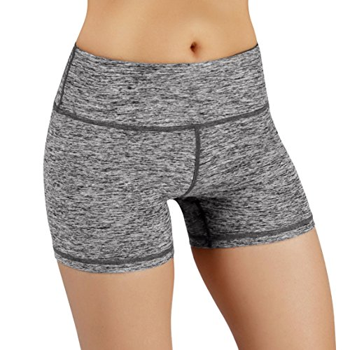 ODODOS Power Flex Yoga Short Tummy Control Workout Running Athletic Non See-Through Yoga Shorts with Hidden Pocket,GrayHeather,X-Large