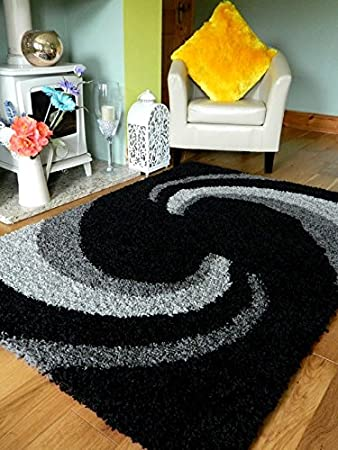 A C Milan Grey Black Silver New Modern Thick Shaggy Rugs Large