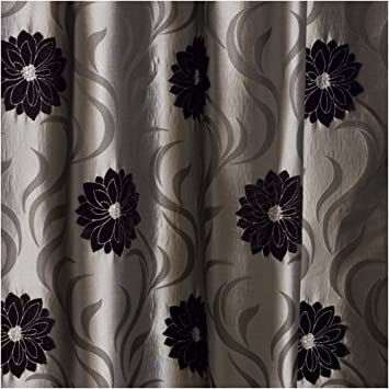Kitchen Curtains black and silver kitchen curtains : EXTRA WIDE Faux Silk Lined Curtains Silver Grey Black 90x72 ...