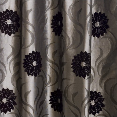 EXTRA WIDE Faux Silk Lined Curtains Silver Grey Black 90x72 ...