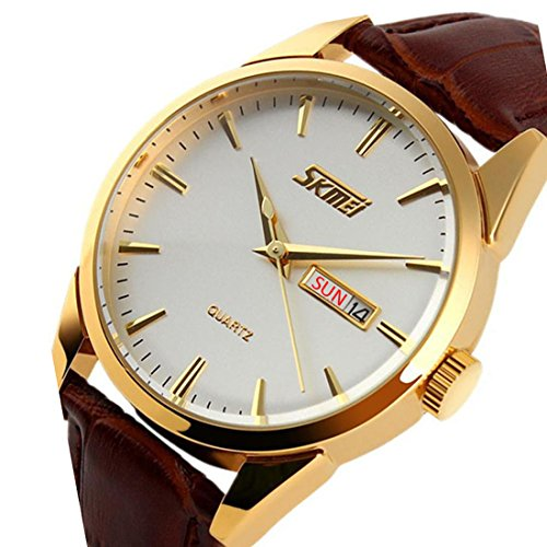 CakCity Mens Stylish Analog Quartz Waterproof Business Dress Watch with Stainless Steel Gold Case,Military Watch with Brown Leather (Brown Dress Leather Watch Band)