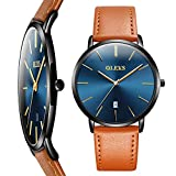 Mens Watch Thin Slim,Men Leather Watches on Sale Clearance,Fashion Quartz Date Wrist Watch for...
